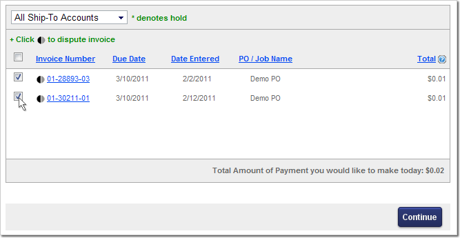How to Pay Online: Choose Invoices